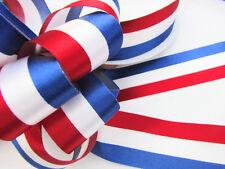 "5 / 50 yards Patriotic Stripe Satin Ribbon Red/White/Navy R62-USA 7/8"" or 1.5"""