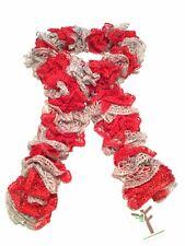 Team Spirit Red, Gray - Handknitted Ruffled Scarf - New