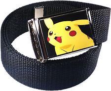 Pikachu Pokemon Black Belt Buckle Bottle Opener Adjustable Web Belt