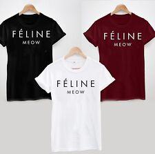 FELINE MEOW CAT t shirt HIPSTER CARA TUMBLR DOPE SWAG TOP MENS WOMEN LADIES