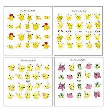 Pokemon Children's Cartoon Water Decal Transfer Sheets Pikachu Nidorino Caterpie