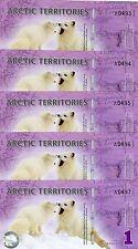 LOT, Arctic Territories, 5 x $1, 2012, Polymer, UNC > Actic Fox