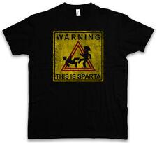 Warning This Is Sparta Sign T-shirt KICK Fun Hole 300 LOGO Leonidas Sign Simbolo