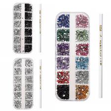 3X(3000Pcs 3D Acrylic 2mm Rhinestones Gems Studs Nail Art Decoration Kit + F7Z2)