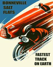 Car Motorcycle Race Grand Prix in Bonneville Salt Flats 16X20 Poster FREE S/H