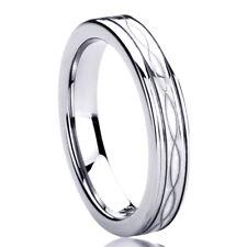 Men Women  Engraving 4MM Titanium Wedding Band Ring Laser Etched Infinity