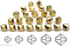 Czech MC Glass Bicone Beads (Rondell/Diamond) Crystal Aurum 2X Gold fully coated