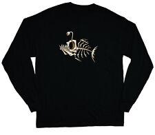 long sleeve t-shirt for men skeleton fish bones design fishing tee shirt