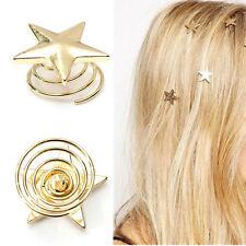 Fashion Women Hot Lovely Star Gold Swirl Hair Pins Clip Hairpin Barrettes GiftE&