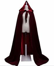 Black Burgundy Velvet Hooded Cloaks with Hood Vampire Coats Robe for Men Woman