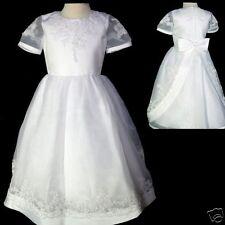 Girl 1st Communion Easter Wedding Formal Party Dress White size 5 6 7 8 10 14
