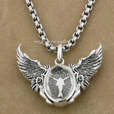 925 Sterling Silver Angel Wing CZ Covered Dancer Biker Pendant Necklace 8J014B