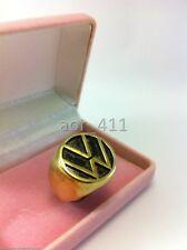 Handmade Classic Volkswagen Brass Ring Volk Size 8-12 Gold and Black Vintage