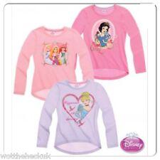 Official Girls Disney Princess Glitter T-Shirt Top Cinderella Rapunzel Ariel 2-8