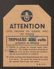 """PARIS (XX°) APPAREILS MENAGERS """"CONORD"""" Fiche de Branchement Electrique"""