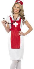 Womens Nurse Costume Red White Hospital Worker Fancy Dress Hat Adult S M L NEW