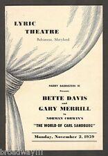 """Bette Davis """"WORLD OF CARL SANDBURG"""" Gary Merrill 1959 FLOP Baltimore Playbill"""