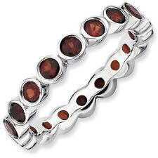 Sterling Silver Stackable Ring Garnet stones, Silver Birthstone Rings QSK386