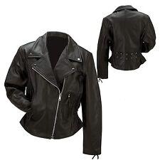 Ladies Black Leather Jacket Biker Motorcycle Harley Rider Chopper Free Shipping