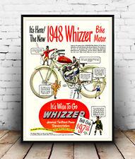 1948 whizzer moteur, reproduction cyclisme affiche publicitaire, wall art.