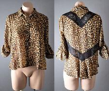 Womens Brown Leopard Lace Long Sleeve Chiffon Button Down Shirt Blouse Top S M L
