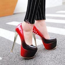 Womens Sexy high platform slip on stilettos high heels club shoes plus Sz bright