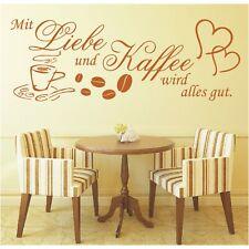 Spruch WANDTATTOO Mit Liebe und Kaffee wird alles gut Wandsticker Aufkleber 3