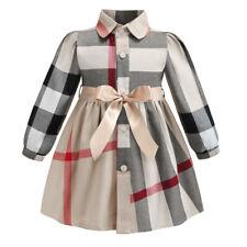 Kids Girls Plaid Shirt Dress Long Sleeve Party Prom Lattice Bow Pleated Blouses