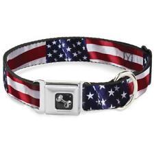 Buckle Down Seatbelt Dog Collar or Leash Vivid US Flag S M L