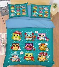 3D Snow Owl Kid 586 Bed Pillowcases Quilt Duvet Cover Set Single King UK Summer