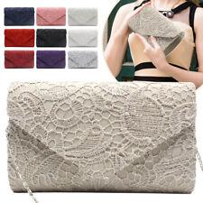Fashion Lady Women Lace Satin Clutch Handbag Wedding Prom Evening Shoulder Bag