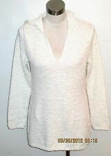 White Crochet knit tunic beach swim hooded cover-up sweater M L