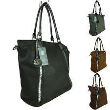 große Tasche Leder Optik Shoppertasche Handtasche Shopper Fächer Gurt 5535-60