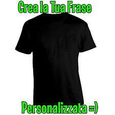 Crea la Tua Frase Personalizzata su Maglia T-Shirt Nera in Cotone S M L XL XXL