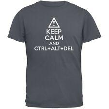 Keep Calm and Ctrl Alt Del Charcoal Grey Adult T-Shirt