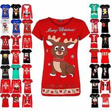 Womens Top Ladies Merry Christmas Infant Reindeer Snowflake Cotton Xmas T Shirt