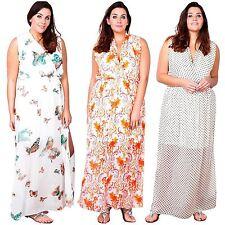 New Womens Chiffon Wrap Side Split Long Printed Plus Size Maxi Dress 16-26
