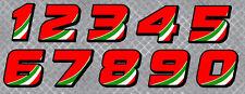 STICKER NUMERO COURSE RACING FLAG ITALIE MOTO CROSS AUTOCOLLANT STICKER NU002ITR