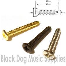 Guitar screws for bridge or tremolo chrome black gold CSK head 3.0mm x 25mm