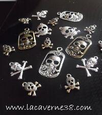Tête de mort pendentif Skull divers modèles métal argenté, bronze collier charm