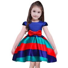 Red Blue Striped Flower Girl Dress Princess Formal Birthday Wedding Bridesmaid