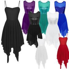 Women Adult Ballet Sequins Gymnastics Leotard Dance Dress Lyrical Skate Costumes