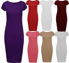Womens Plus Size Cap Sleeve Bodycon Midi Dress Jersery Midi Dress