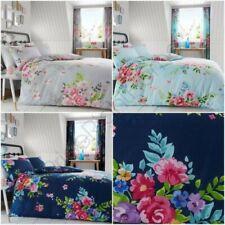 Alice Floral Set Housse de couette ROSES FLEURS GRIS BLEU - Double & King taille