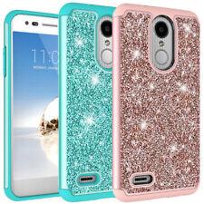 For LG Aristo 2 / Zone 4 Case Glitter Bling Skin Hybrid Shockproof Phone Cover