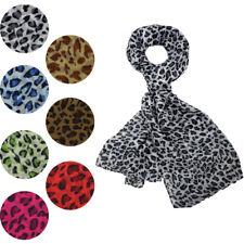 NEW Animal Leopard Print Scarf Shawl Wrap Stole Chiffon Large Long Soft Light UK