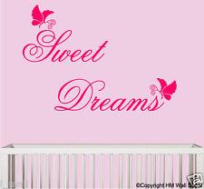 """"""" Sweet Dreams """" & Butterflies Removable Wall sticker for kids room/nursery"""
