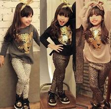2Pcs Kids Baby Girls Dress Leopard Long Sleeve T-shirt + leggings Pants Set 2-7Y