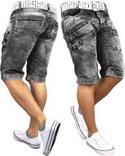 RedBridge Herren Jeans Shorts Capri Nieten Streetwear Grau Used Look Dope Swag