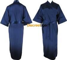 Navy Dark Blue Satin Robe Full Length Kimono Silk Gown Bridal Party Size 6 to 24